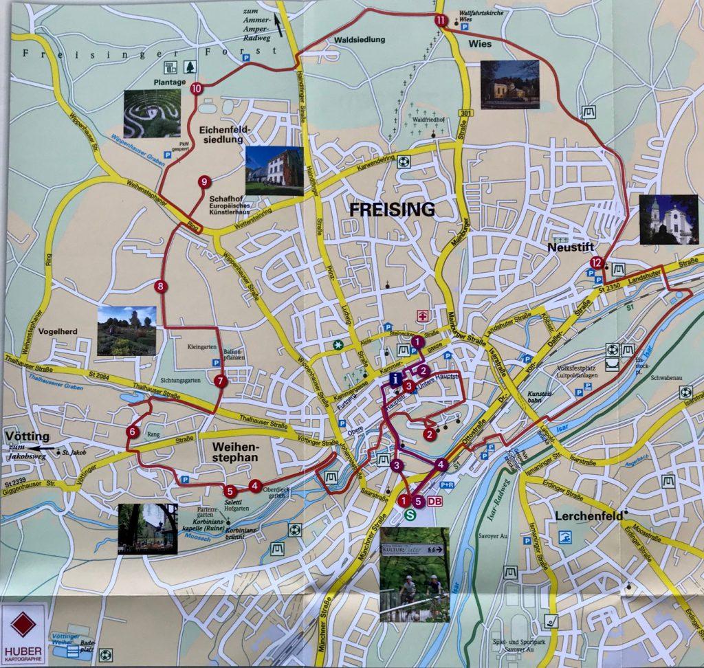 Karte Kultur & Natur Rundweg Freising