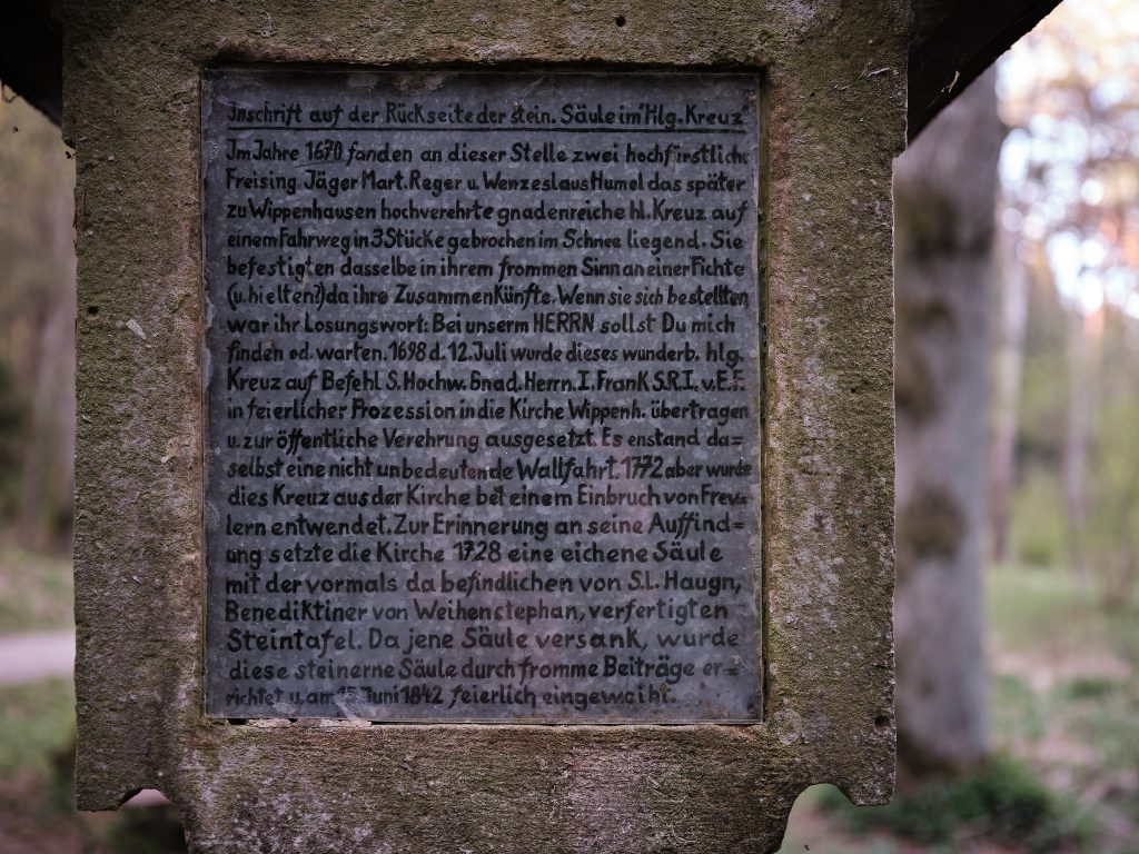 Inschrift Altar Hl. Kreuz Freising